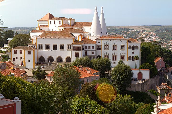 the National Palace of Sintra in the center of the town