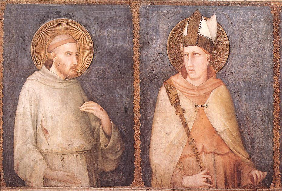 frescos by Simone Martini showing St. Francis and St. Louis of Toulouse