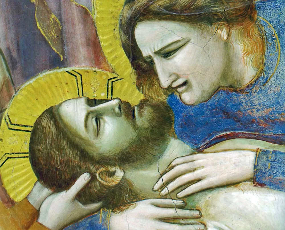 close up of Jesus and Mary in The Lamentation