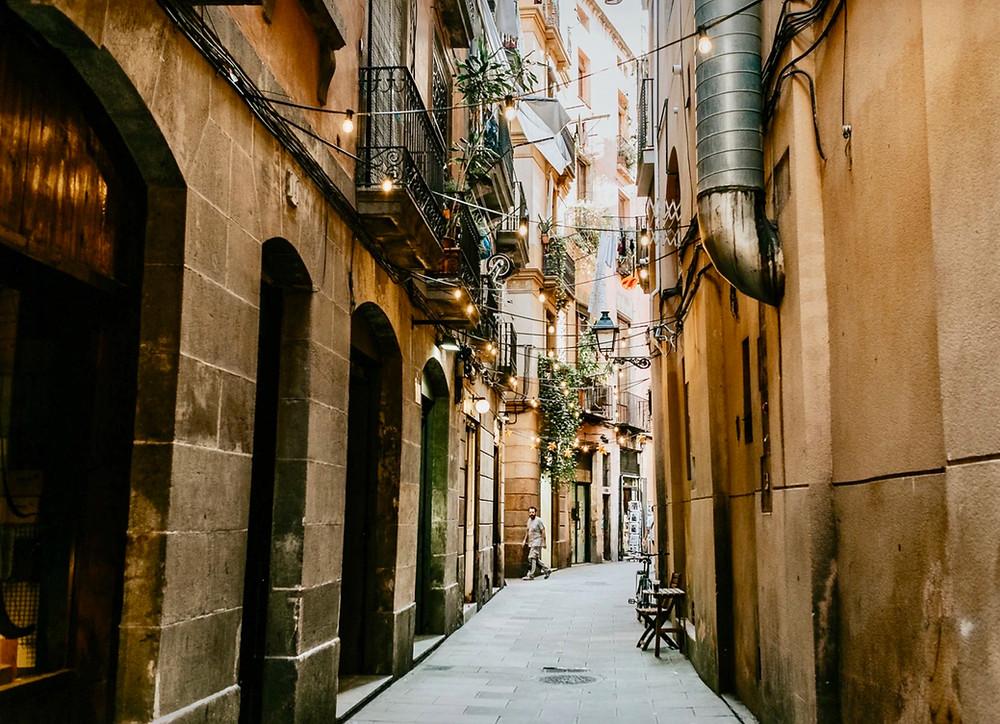 street in the El Raval neighborhood of the Gothic Quarter