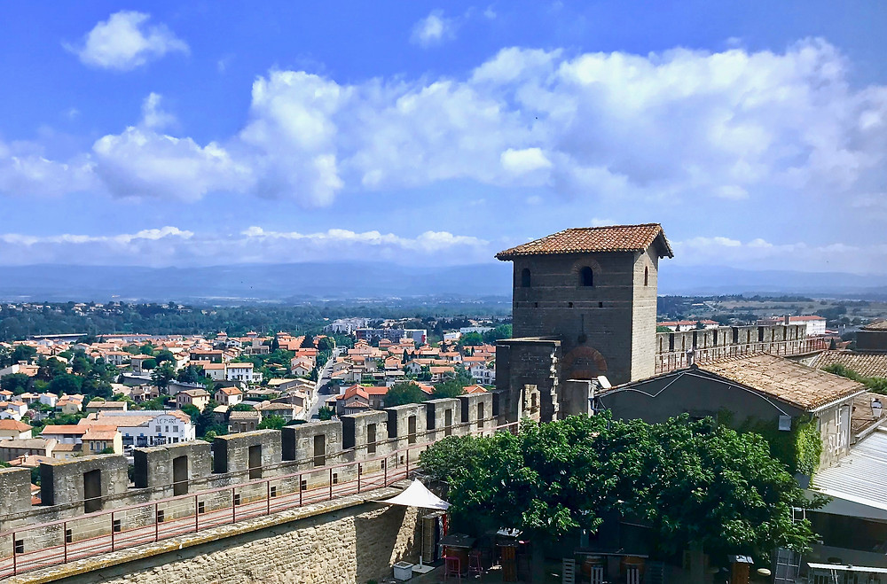 a Roman tower on the city walls of Carcassonne