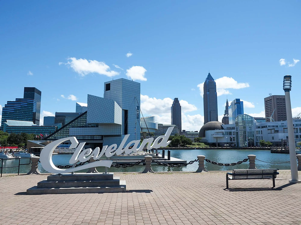 Cleveland sign in North Coast Harbor