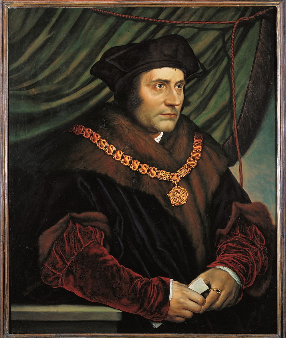 Hans Holbein the Younger, Portrait of Sir Thomas More, 1527 --piously religious and principled, but willing to write false stories