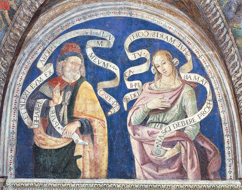 Moses and the Delphic Sybil, with scrolls announcing Christ's coming