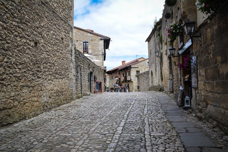 cobbled streets in Santillana del Mar Spain