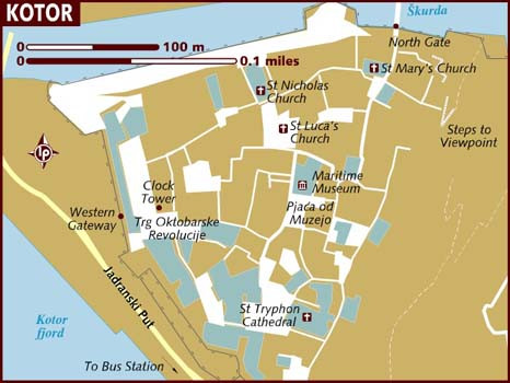 Map of Kotor, Image source: Lonely Planet
