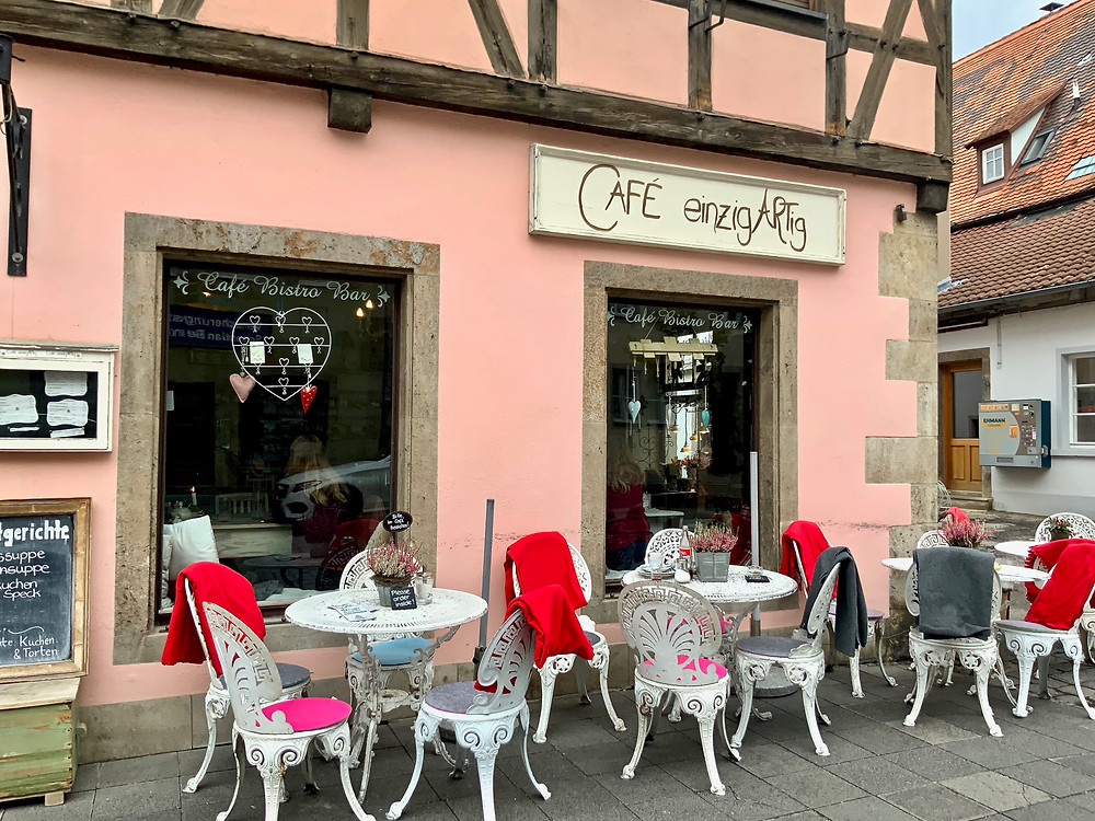 an incredibly quaint cafe in Rothenburg ob der Tauber (that I would highly recommend) where I ordered still water and got sparkling water