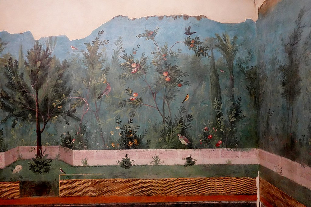 ancient garden frescos removed from the House of Livia on Palatine Hill in the Palazzo Massimo