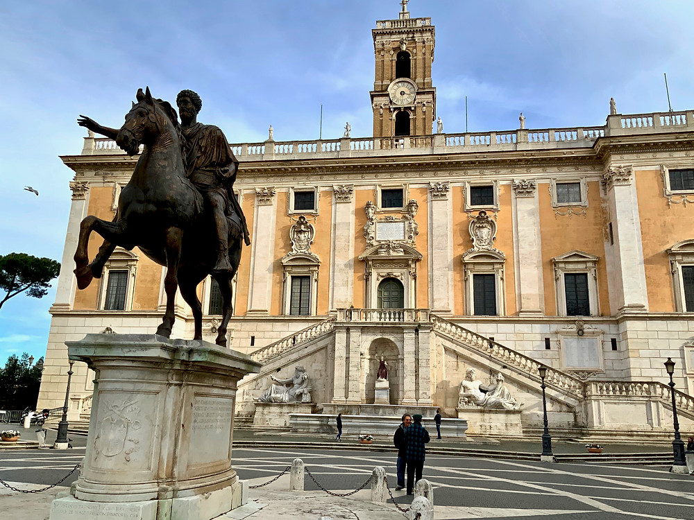 statue of Marcus Aurelius on the Michelangelo-designed Piazza del Campidoglio in Rome