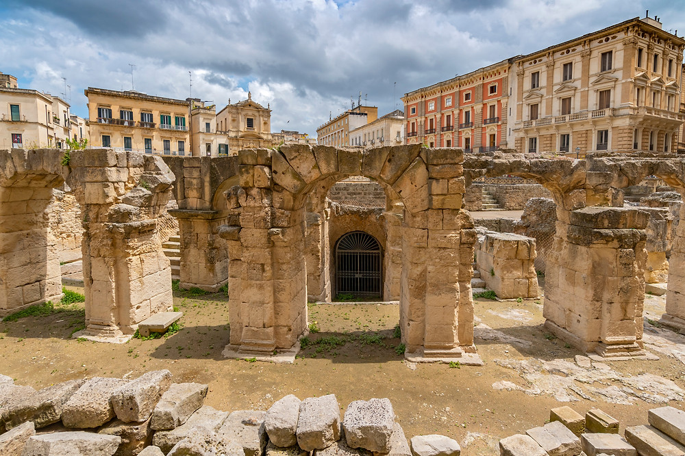 ruins of a Roman amphitheater in Lecce