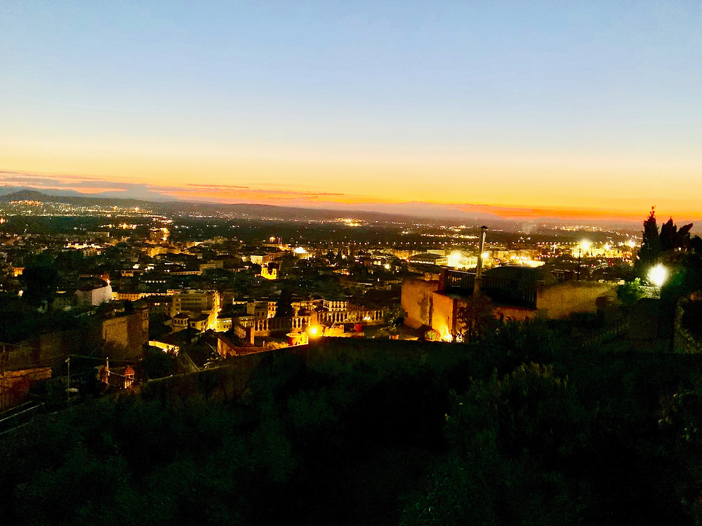 my sunset view of the Alhambra from the Mirador de San Nicolas