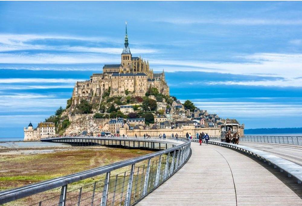 steel footbridge leading to Mont Saint-Michel