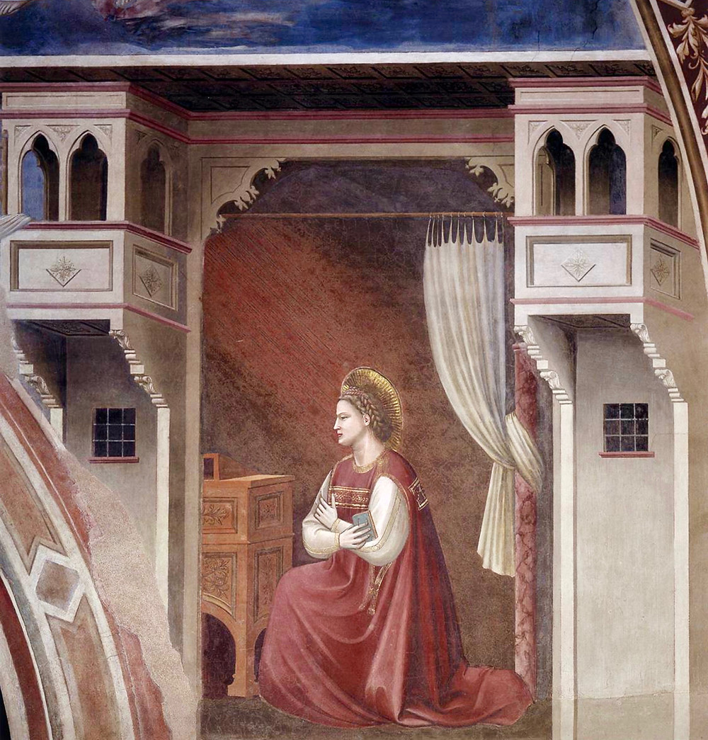 Mary learning that she will be a mother, in the right side of the arch