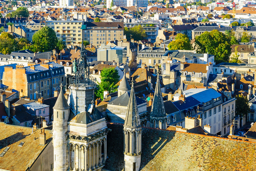 An aerial view of the historic center of the city, with Notre-Dame church, in Dijon France