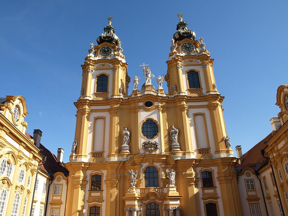 facade of Stiftskirche at Melk Abbey