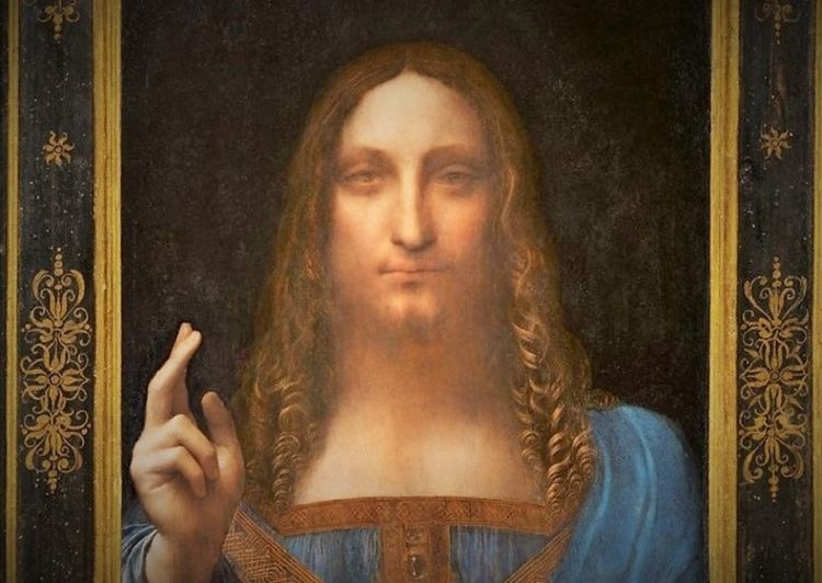 the Salvator Mundi painting, a possible Leonardo, that sold for 450 million in 2017