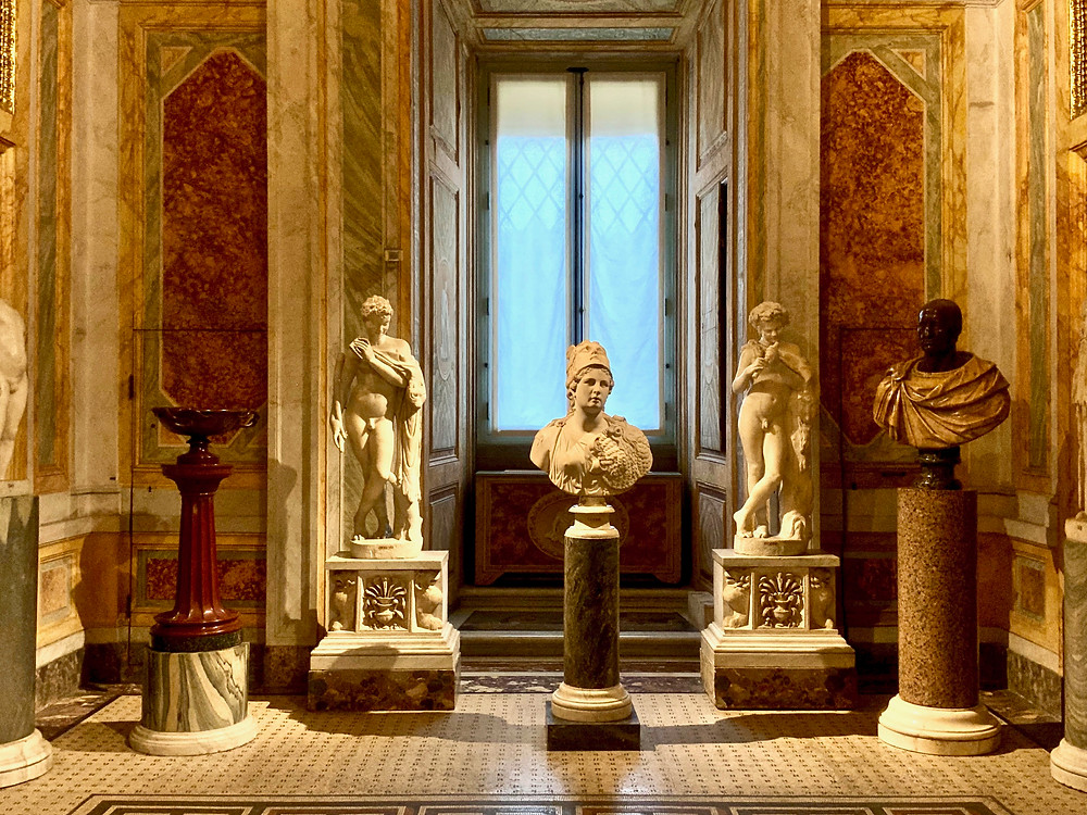 sculptures in the Borghese Gallery, a must see museum in Rome