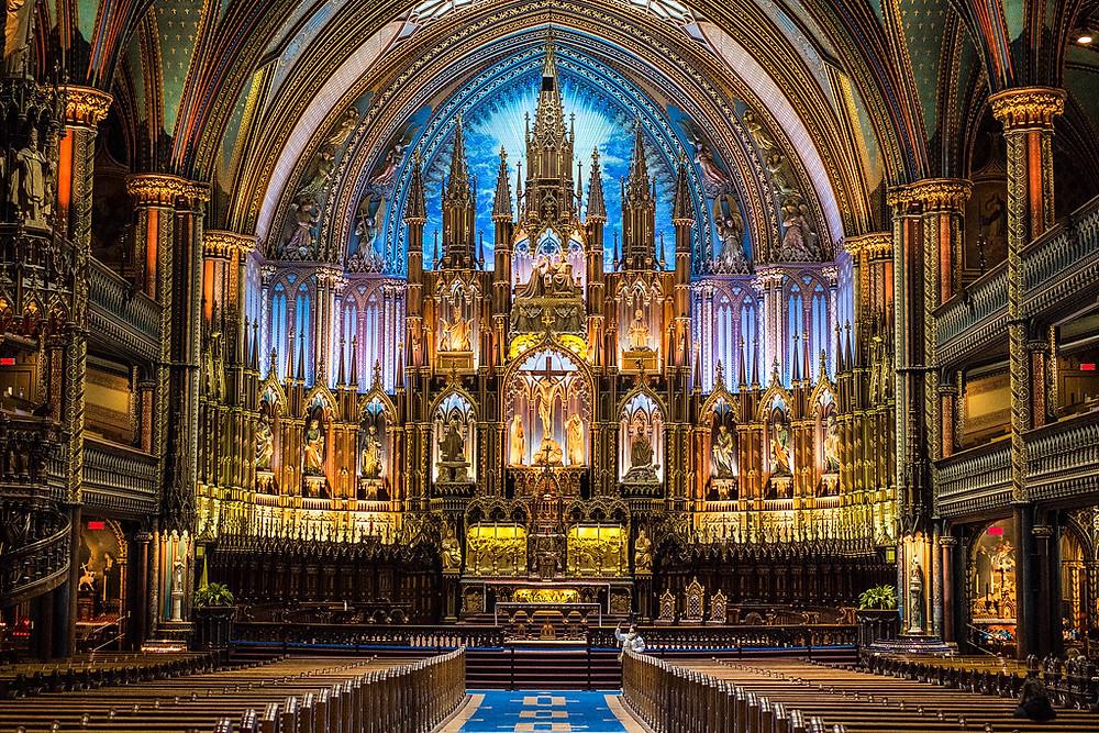 close up of the altar of Notre-Dame Basilica