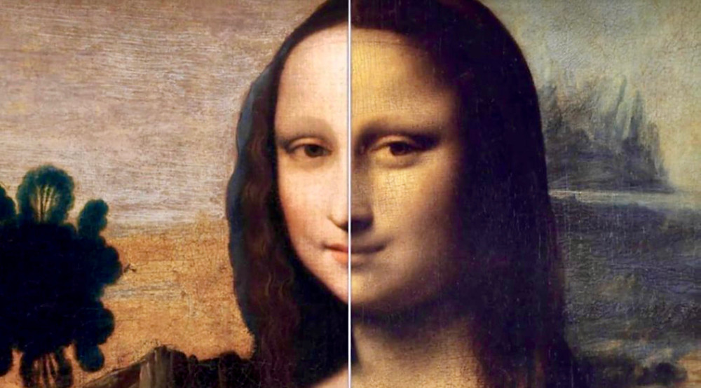 comparison of the Isleworth Mona Lisa (left) and the Louvre's Mona Lisa (right