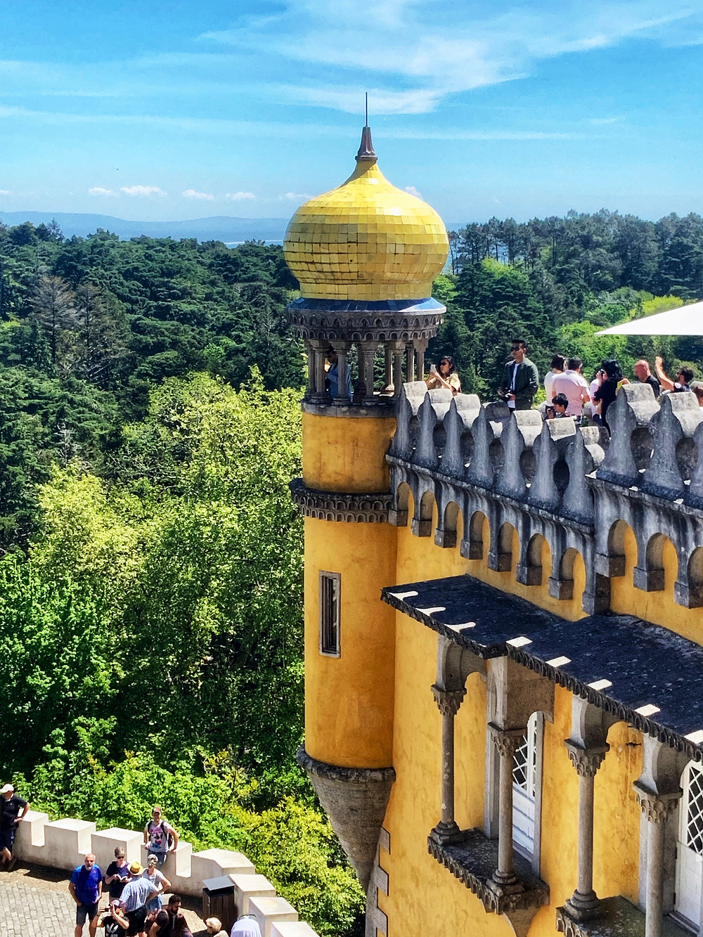 the yellow ceramic onion dome at Pena Palace