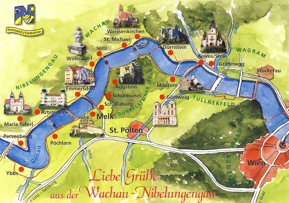 map of the Wachau Valley from Krems to Melk