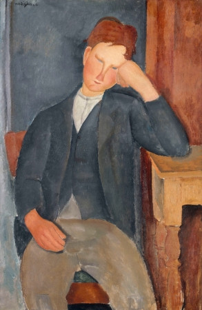 Amedeo Modigliani, The Young Apprentice, 1918-19 -- Modigliani is influenced by Cezanne and recreates poses from Cezanne portraits.