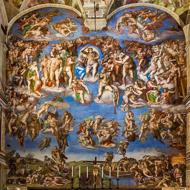 Michelangelo's Last Judgment on the altar wall of the Sistine Chapel