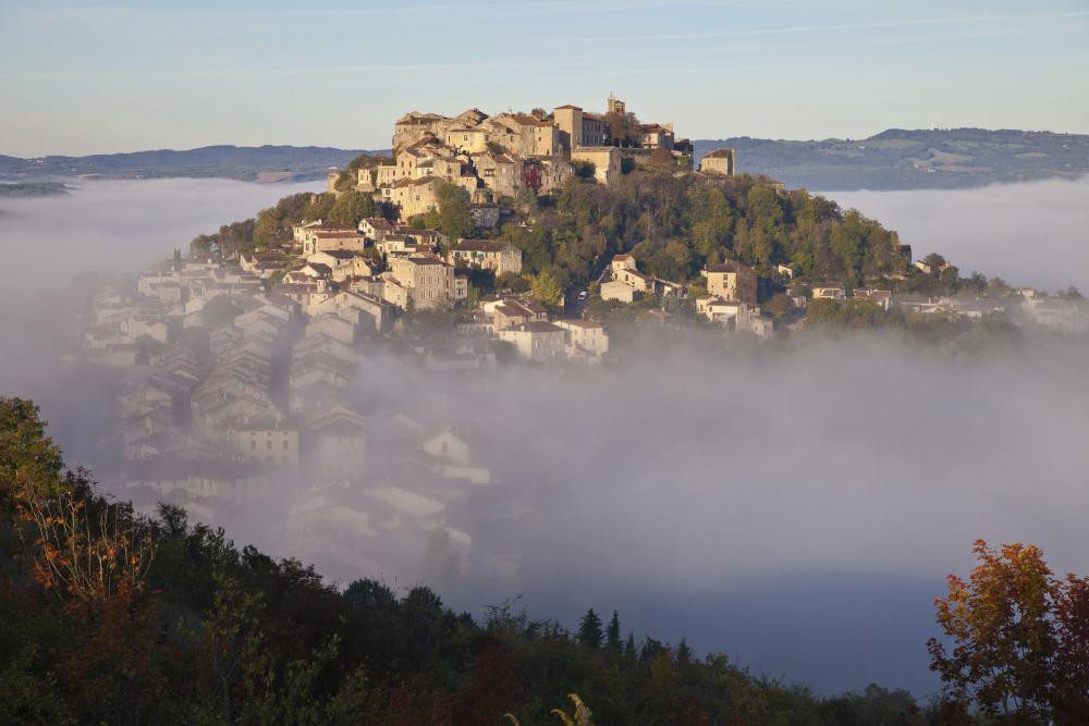 the hilltop village of Cordes Sur Ciel in the Occitanie region of France outside Toulouse