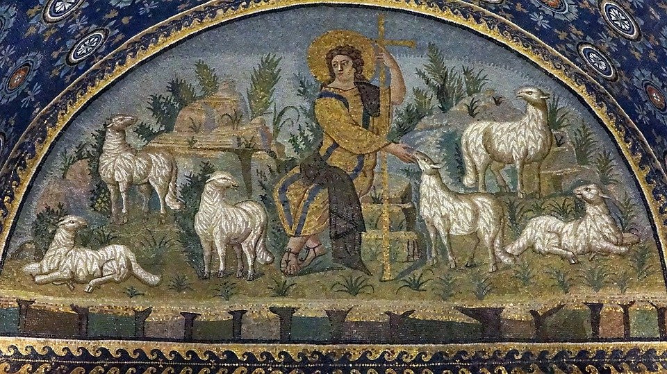 Jesus with a herd of lambs in the Gall Placidia Mausoleum