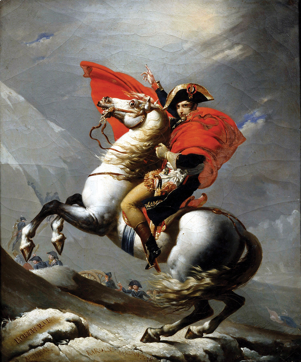 Jacques-Louis David's painting of Napoleon Crossing the Alps, 1802