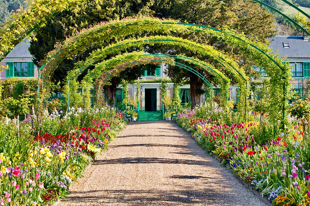 central path in Clos Normand garden in Giverny France