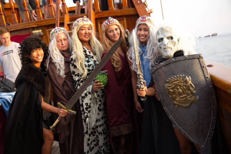 tourists dress up in Game of Thrones costumes on a Game of Thrones tour in Dubrovnik.