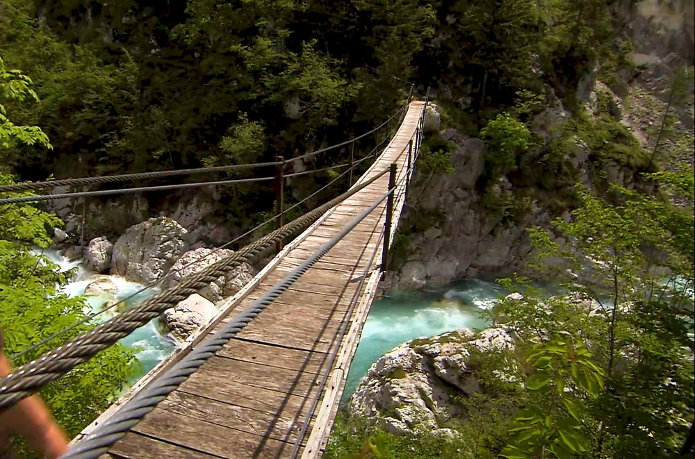 suspension bridge in the Soca River Valley