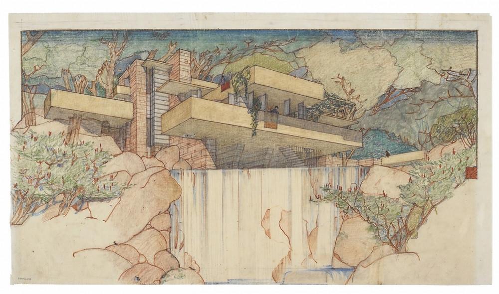 Frank Lloyd Wright, Fallingwater (Edgar J. Kaufmann House), Mill Run, Pennsylvania, 1935, Color pencil on tracing paper, 15-3/8 x 27-1/4 inches, © The Frank Lloyd Wright Foundation