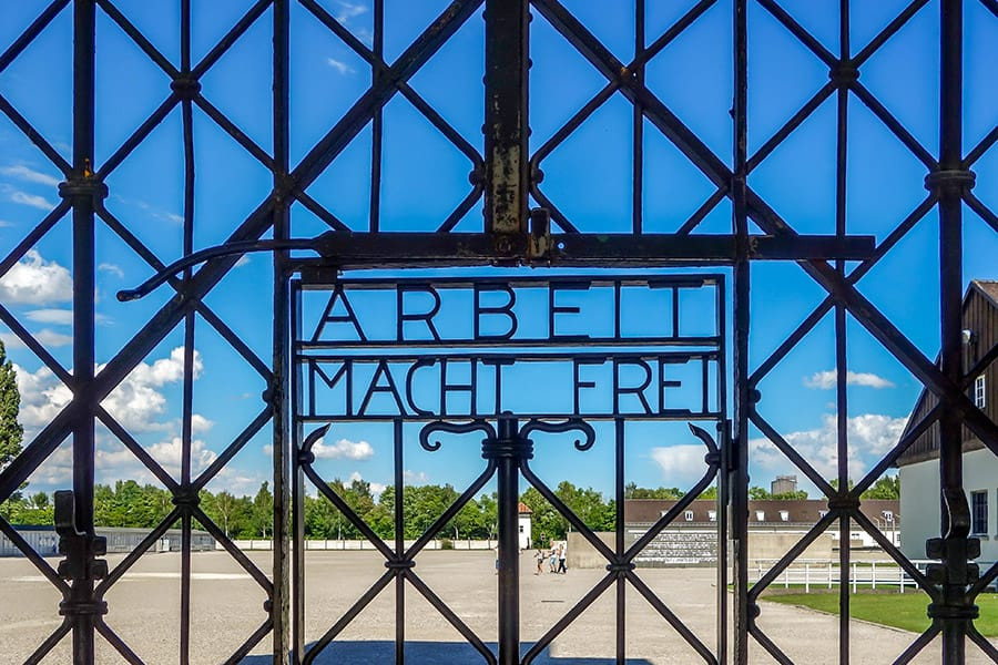the chilling Arbeit Macht Frei message, which means work will set you free