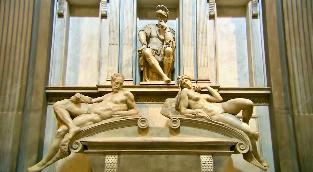Lorenzo de Medici's tomb with the sculptures of Dusk and Dawn