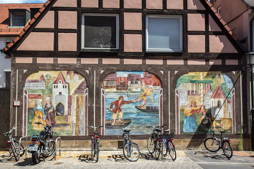 murals on the facade of a house n Bamberg