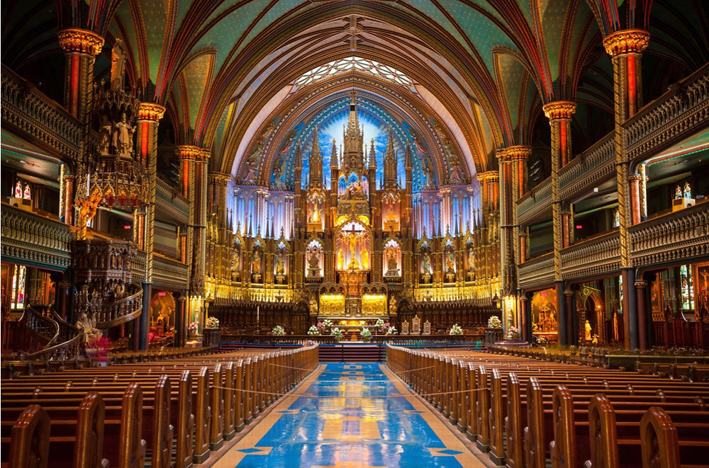 the colorful interior of Notre-Dame Basilica