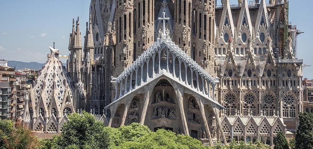 the bone-like pediment of the Passion Facade