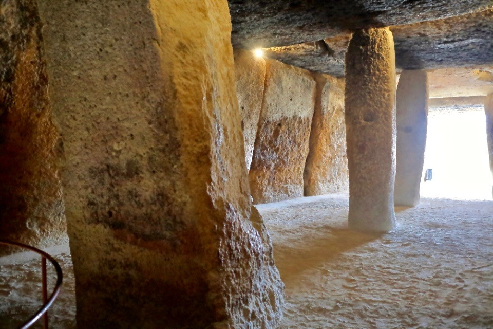 the interior and pillars of the dolmen of Menga