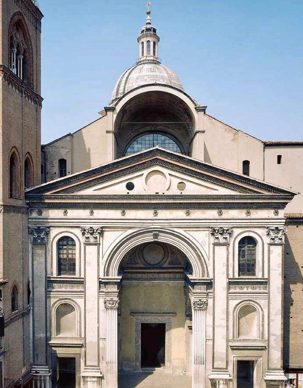the classically designed Alberti facade of Mantua's Basilica di Sant'Andrea