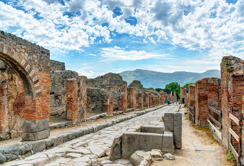 the ruins of Pompeii