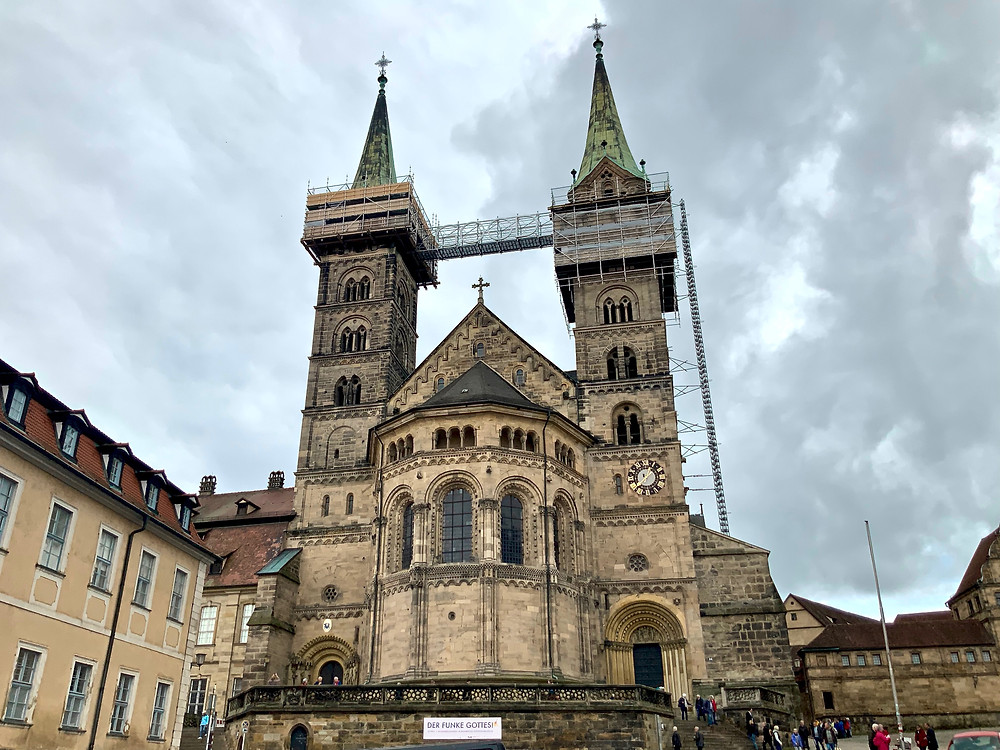the twin towers of Bamberg Cathedral, now under renovation
