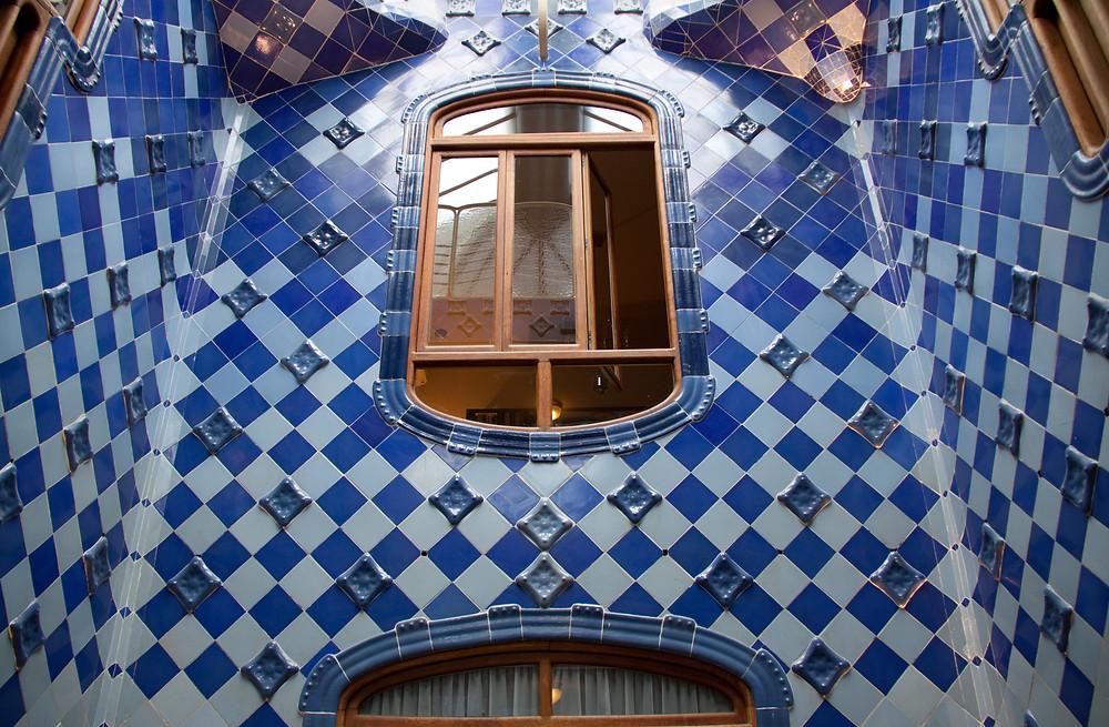 Patio De Luces, the blue tiled air shaft atrium of the Casa Batlló