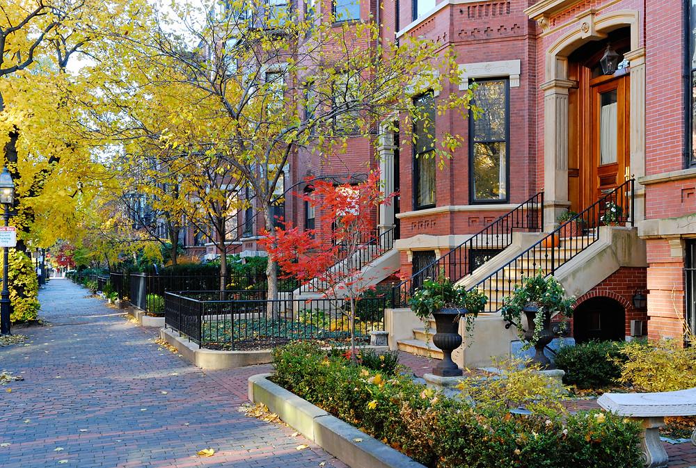 fall foliage in the Back bay neighborhood of Boston
