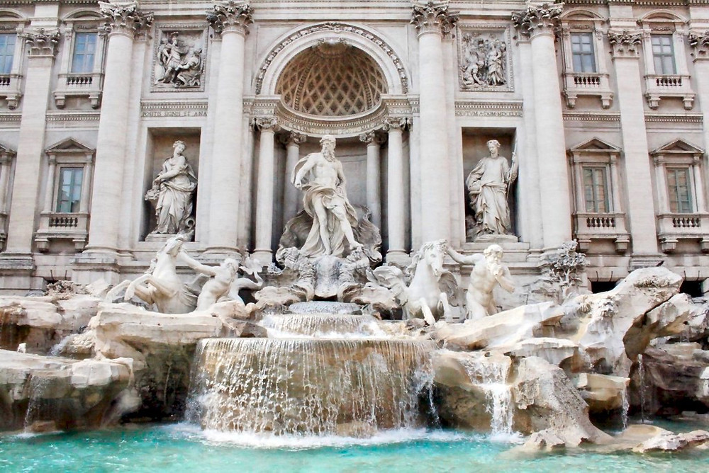 "the Trevi fountain with the figure ""Ocean"" in the center"