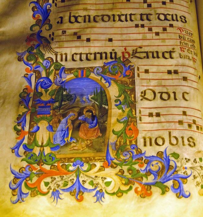 illuminated manuscript in the Michelozzo Library of San marco