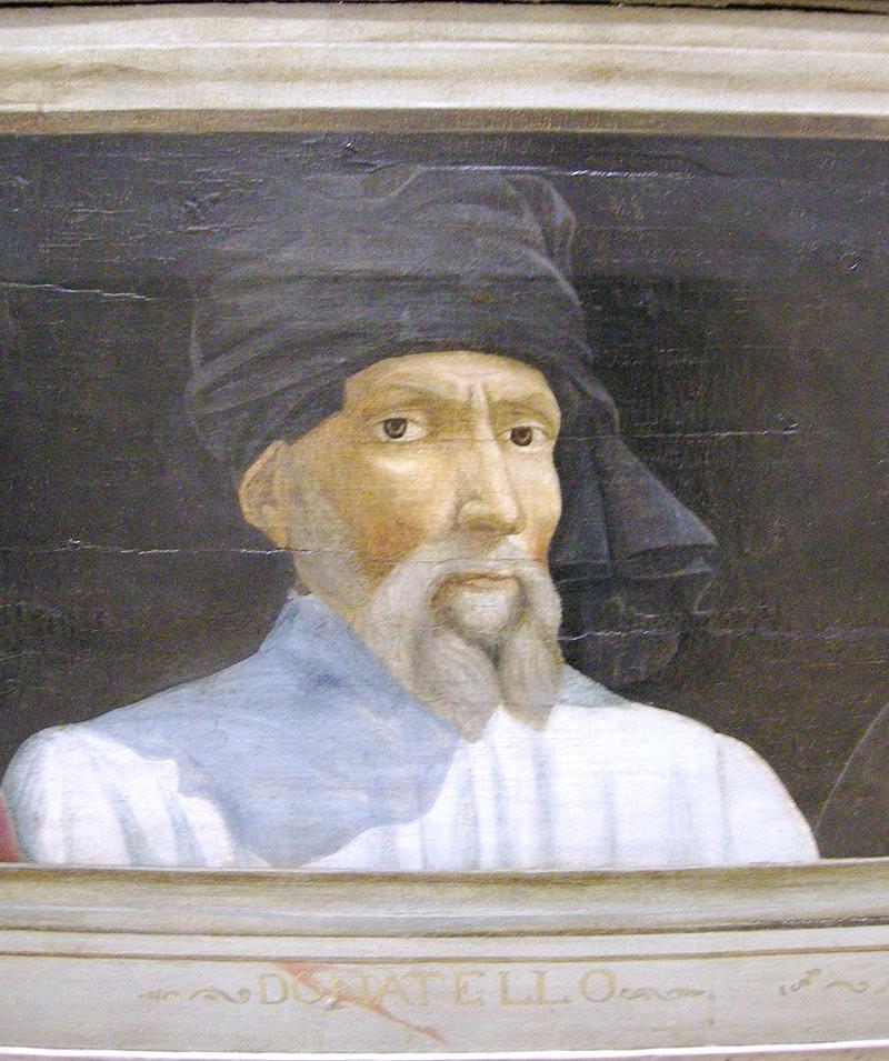 detail of Donatello in the Louvre's Portrait of Five Famous Men of the Italian Renaissance
