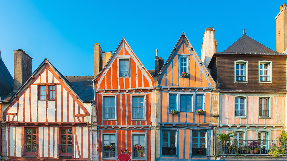 colored half timbered houses in Vannes