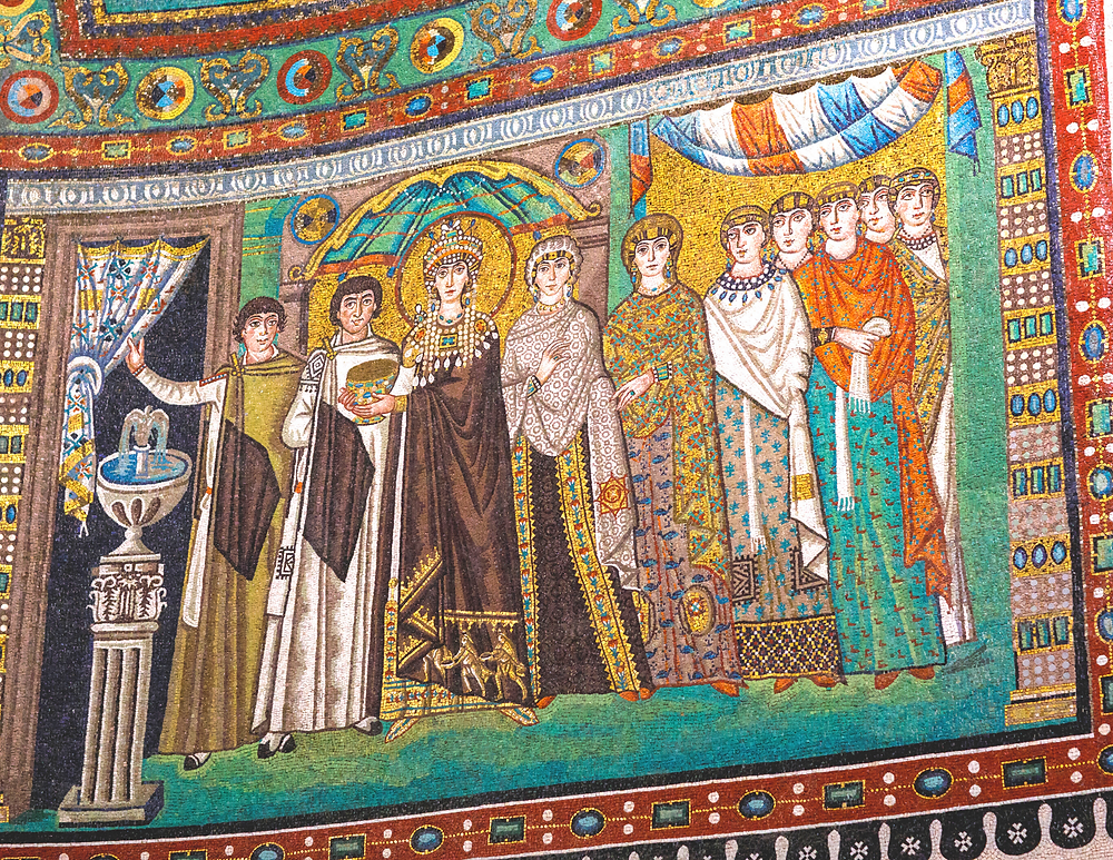 mosaic of Empress Theodora and her attendants in San Vitale in Ravenna